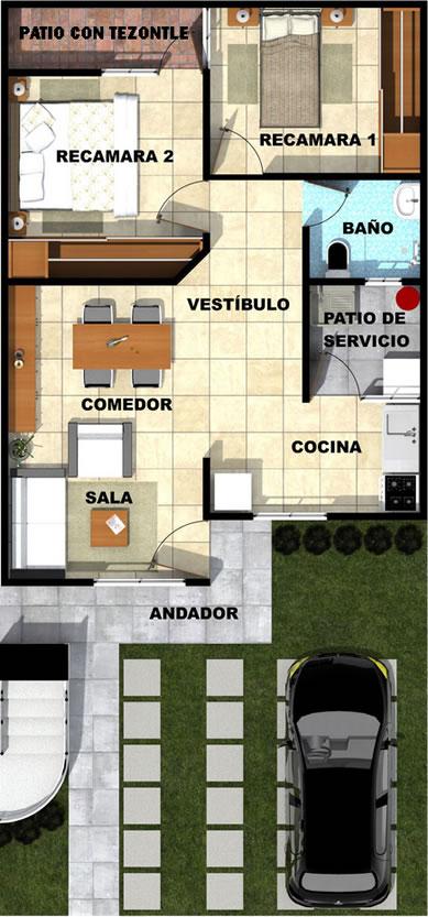 Planos de casas infonavit 1 planta for Planos de casas 1 planta